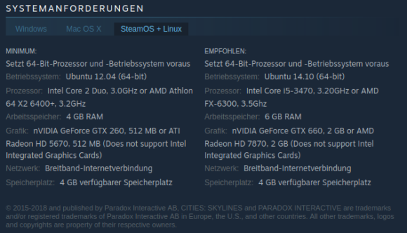 Systemanforderungen für Cities: Skylines (Linux)