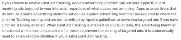 im Gegensatz zu Androids Advertising ID lässt sich die Tracking-ID von Apple mit Nullen überschreiben