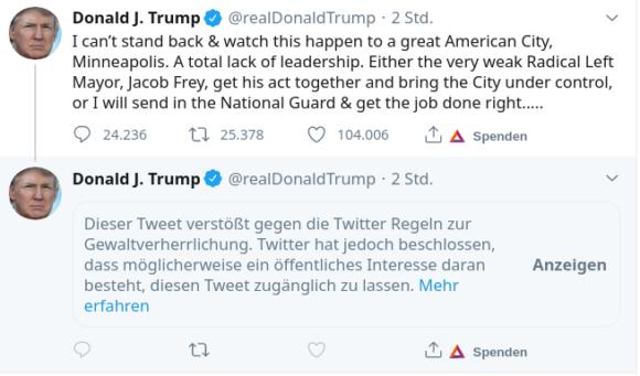 Trumps Tweet wegen Gewaltverherrlichung ausgeblendet