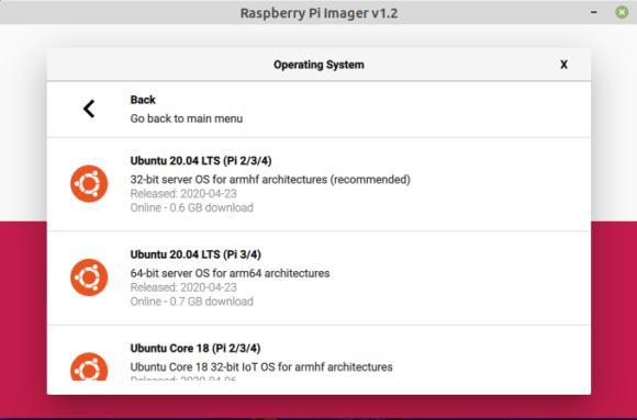Ubuntu 20.04 LTS Focal Fossa im Raspberry Pi Imager Tool