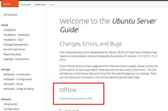 Ubuntu Server Guide gibt es auch als Offline-Version (PDF)