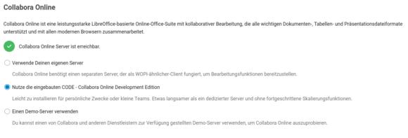 In Nextcloud Hub Version 19 integriertes Collabora Online – funktioniert, wenn ich die Docker-Instanz deaktiviere