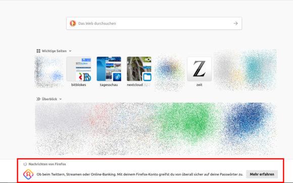 Kurzinformationen von Firefox nerven