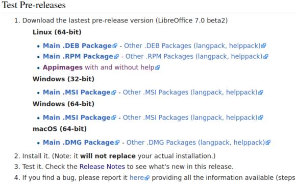LibreOffice 7.0 Beta2 herunterladen