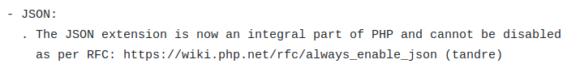 JSON-Erweiterung ist jetzt ein integraler Bestandteil von PHP 8.0.0 Alpha 1 und kann nicht deaktiviert werden.
