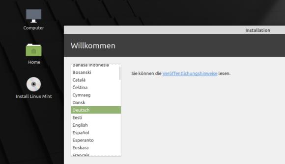 Für die Installation kannst Du auf Deutsch umstellen