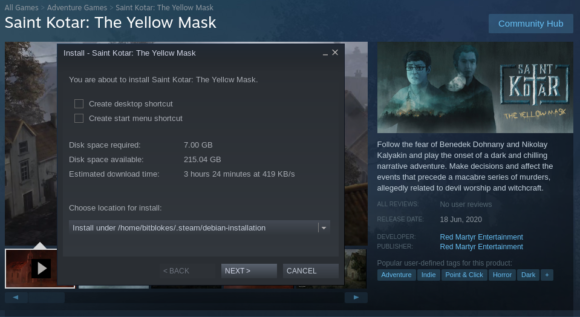Saint Kotar: The Yellow Mask möchte 7 GByte