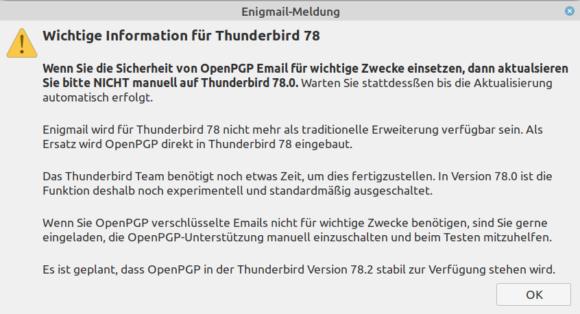 Enigmail warnt vor manueller Aktualisierung auf Thunderbird 78