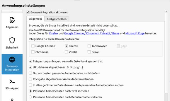 Browser-Integration ist möglich, muss aber konfiguriert werden