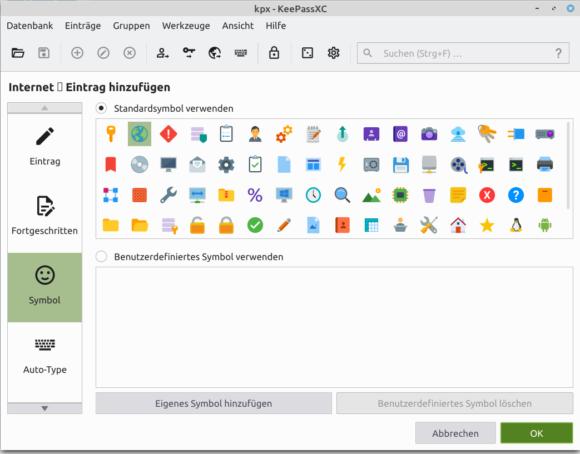 Neue Symbole bei KeePassXC 2.6.0