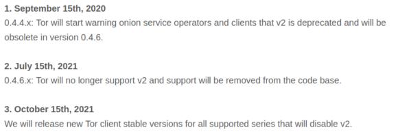 Onion Service v2 wird eingestellt – bitte auf v3 umstellen