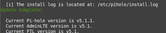 Upgrade auf Pi-hole 5.1 erfolgreich