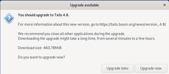 Bitte bald auf Tails 4.8 aktualisieren