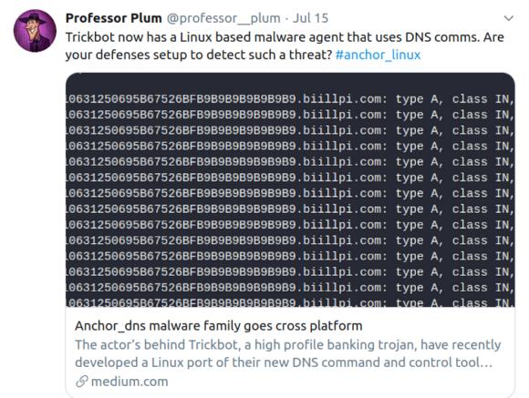 Professor Plum hat TrickBot für Linux entdeckt