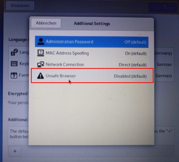 Unsicherer Browser muss ab Tails 4.8 bei Systemstart aktiviert werden