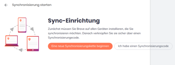Brave 1.12 mit Sync v2 – neue Sychronisierungskette beginnen