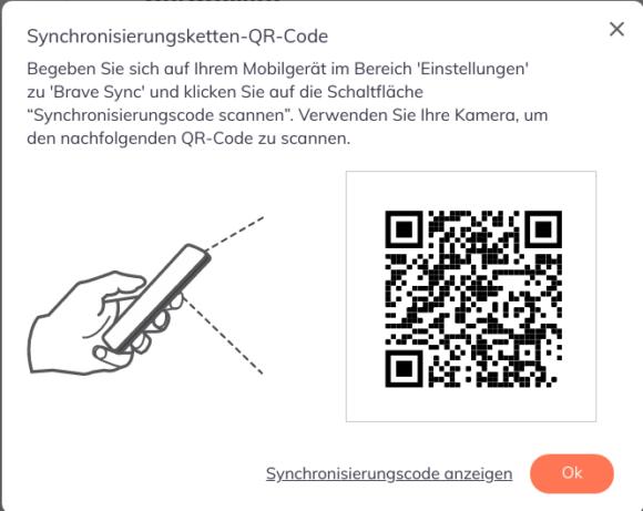 Du kannst Dir auch einen QR-Code anzeigen lassen