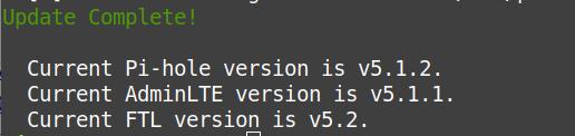 Update auf Pi-hole FTL v5.2 erfolgreich