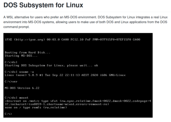 DSL – DOS Subsystem for Linux