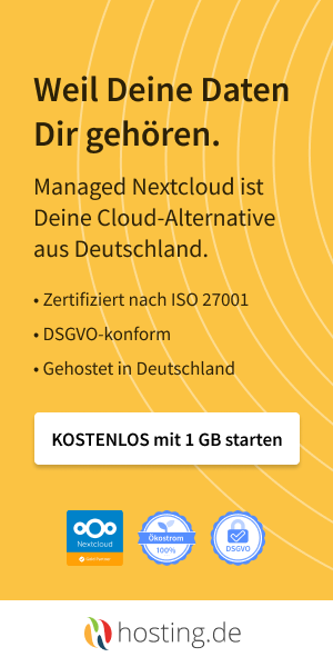 Hosting.de – Nextcloud – Weil Deine Daten Dir gehören