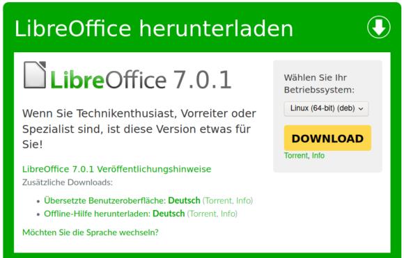 Ab sofort steht LibreOffice 7.0.1 zur Verfügung