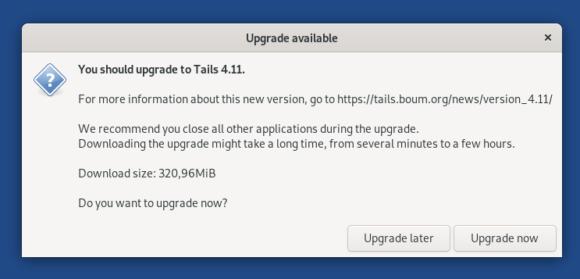 Upgrade auf Tails 4.11 ist verfügbar