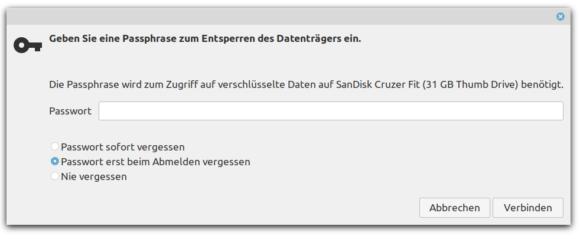 Gib bitte das Passwort für den verschlüsselten Datenträger ein