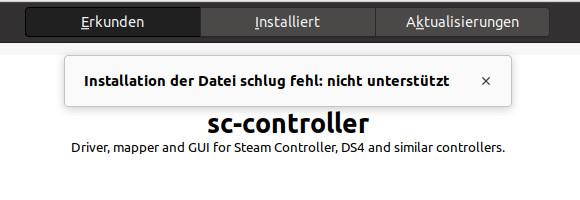 Ich kann die .deb-Datei nicht mit dem grafischen Client installieren