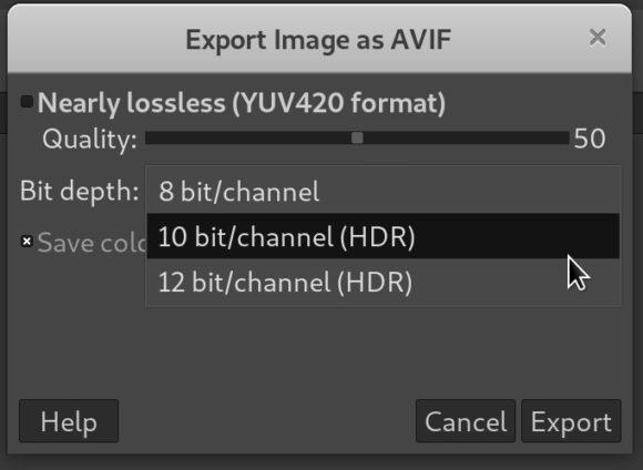 GIMP 2.10.22 mit Unterstützung für AVIF (Quelle: gimp.org)