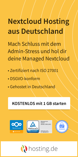 Hosting.de – Nextcloud – Weil Deine Daten Dir gehören