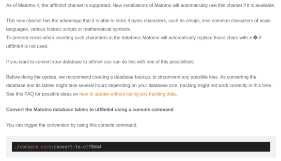 Wer utf8mb4 bei Matomo 4 nutzen möchte, muss die Datenbank manuell umstellen
