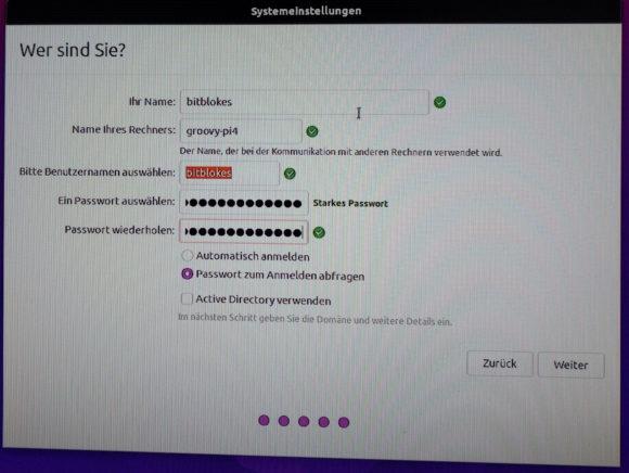 Name des Rechners, Benutzername und Passwort festlegen