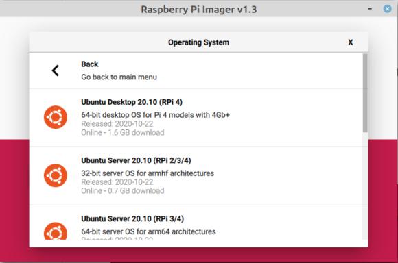 Raspberry Pi Imager bietet Ubuntu 20.10 Groovy Gorilla für den Pi 4 an