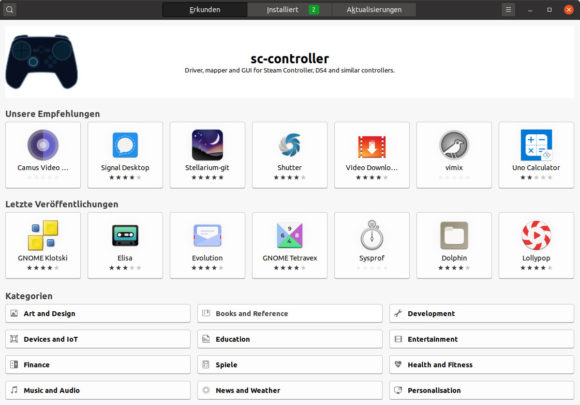 Die Kategorien unten sind bei Ubuntu 20.10 für Raspberry Pi auf Englisch