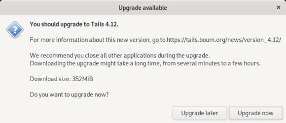 Upgrade auf Tails 4.12 ist möglich