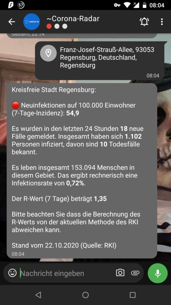 Corona-Informationen via Threema für Regensburg