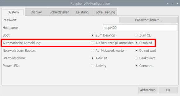 Automatische Anmeldung bei Raspberry Pi OS deaktivieren