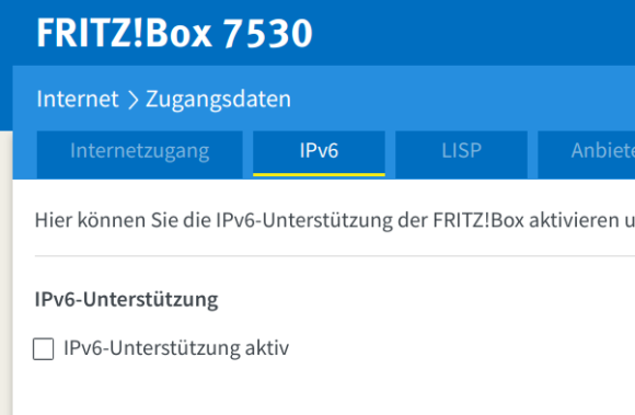 IPv6 bei der FRITZ!Box deaktivieren