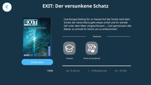 Die App erklärt die Exit-Spiele