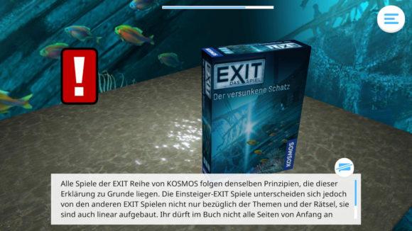 Die Kosmos Erklär-App liest Dir die Anleitung für die Exit-Spiele vor