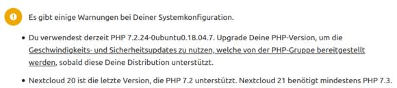 Nextcloud warnt bei nicht mehr aktueller PHP-Version