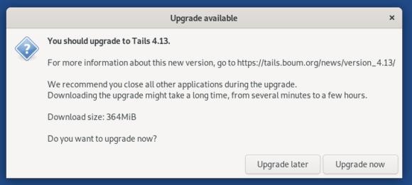 Du kannst ab sofort auf Tails 4.13 aktualisieren