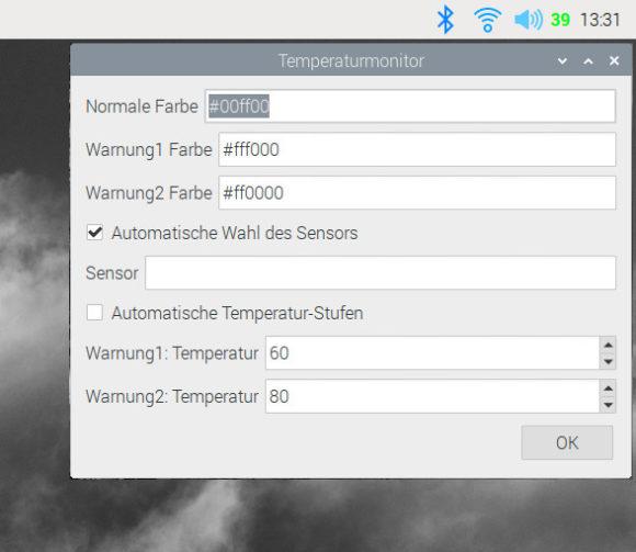Temperaturmonitor – Einstellungen