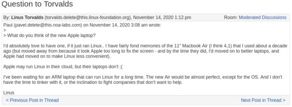 Linus Torvalds würde gerne ein Notebook mit Apple M1-Prozessoren nutzen