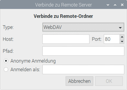 Über den Dateimanager von Raspberry Pi OS WebDAV einbinden