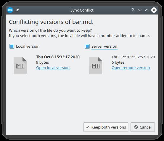 Nextcloud Desktop Client 3.1 mit neuer Konfliktbehandlung (Quelle: nextcloud.com)