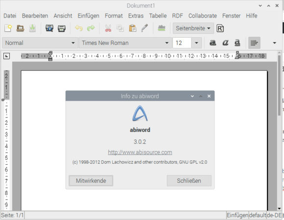 Abiword ist eine leichtgewichtige Textverarbeitung