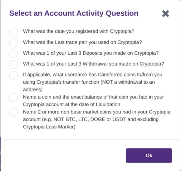 Beweise, dass es sich um Dein Cryptopia-Konto handelt