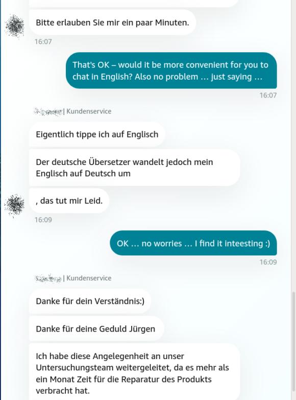 Amazon Chat mit automatischer Übersetzung