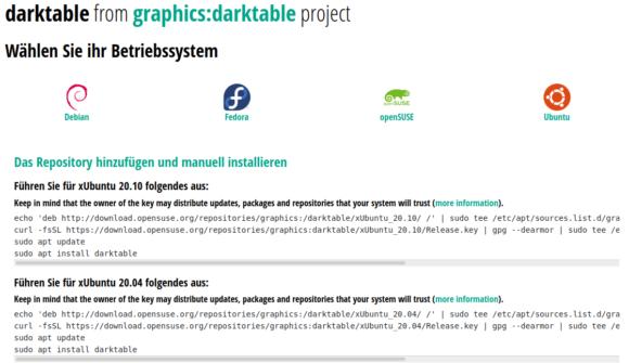 Aktuelle Darktable-Version unter Ubuntu installieren